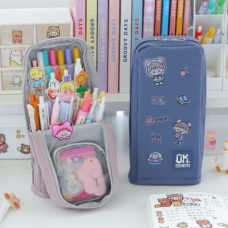 wholesale double-layer large-capacity standable stationery bag nihaojewelry  NHZE409898's discount tags