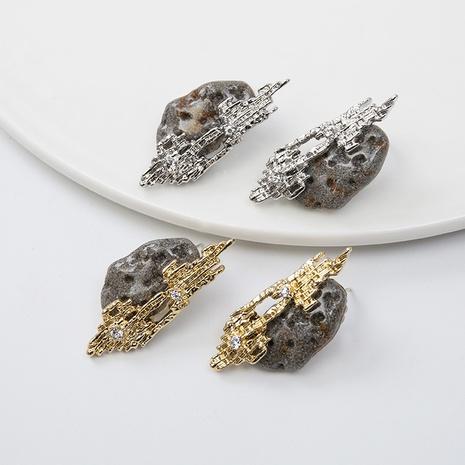 retro diamond-set natural stone earrings wholesale Nihaojewelry NHQC412807's discount tags