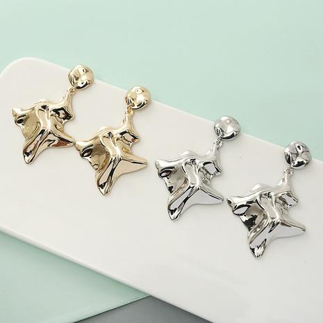 retro metal bump folds squeeze irregular earrings wholesale Nihaojewelry NHQC412802's discount tags