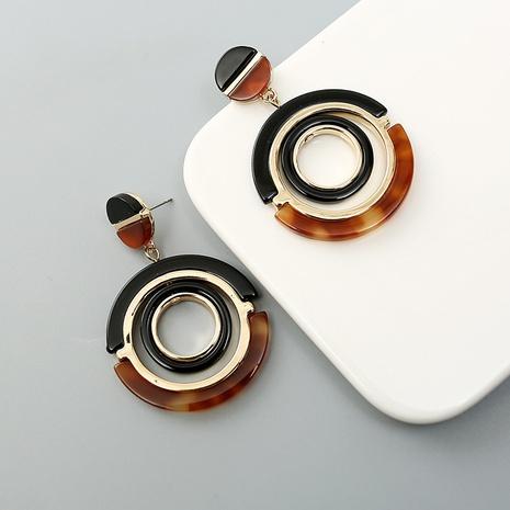 Fashion Circle Metal Acrylic Earrings Wholesale Nihaojewelry NHQC412800's discount tags