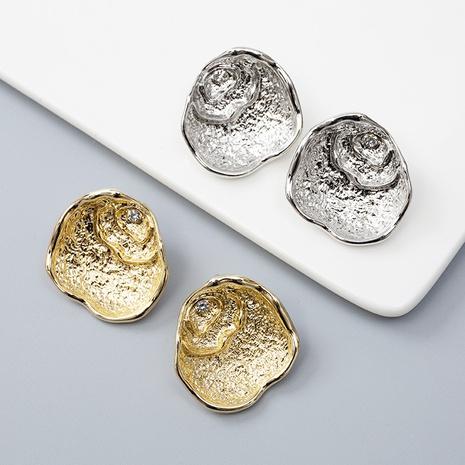 fashion geometric shell oval irregular diamond earrings wholesale Nihaojewelry NHQC412810's discount tags