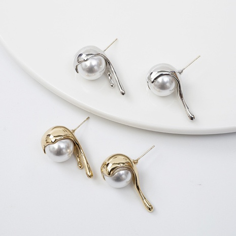 Korean pearl spoon shape earrings wholesale Nihaojewelry NHQC412797's discount tags