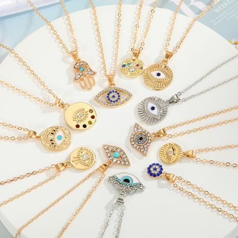 Vente en gros bijoux collier pendentif oeil bleu palmier ethnique nihaojewelry NHGO410553's discount tags