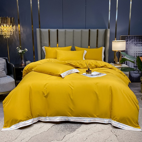 Textured yellow hit color embroidered bedding set wholesale Nihaojewelry NHMAR411391's discount tags