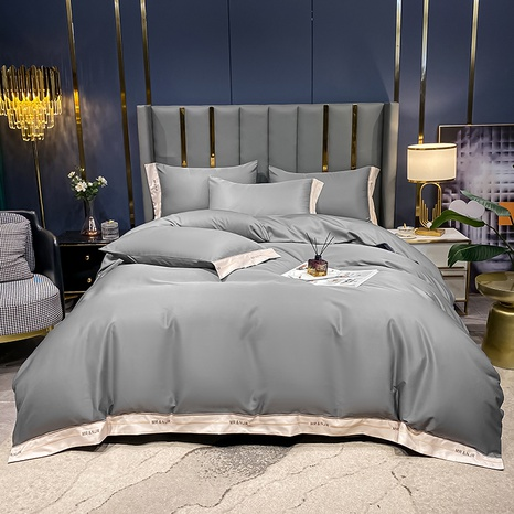 dark gray hit color brushed embroidered bedding set wholesale Nihaojewelry NHMAR411387's discount tags