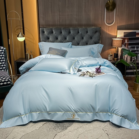 Textured solid color brushed embroidered bedding set wholesale Nihaojewelry NHMAR411384's discount tags