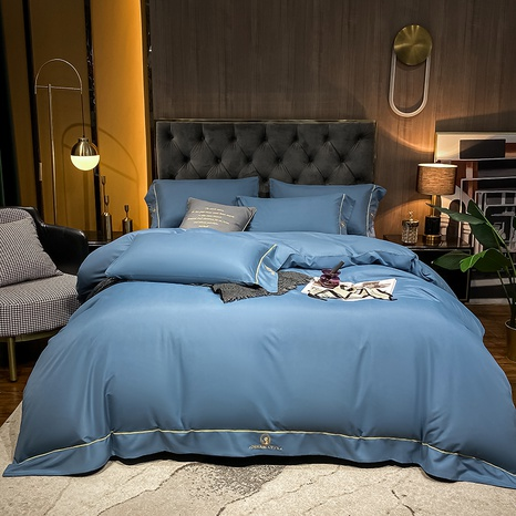 dark blue thick brushed embroidered bedclothes set wholesale Nihaojewelry NHMAR411380's discount tags