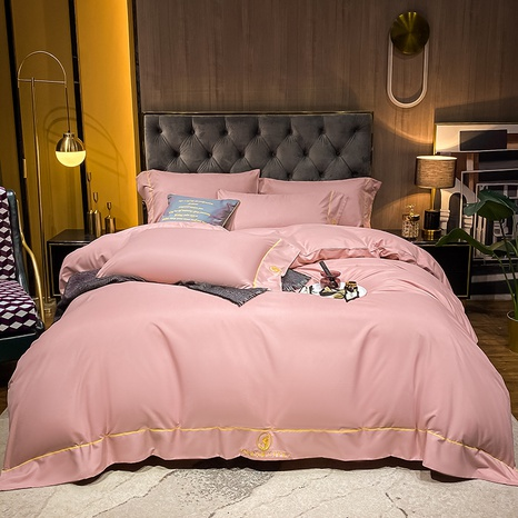 Textured pink thick brushed embroidered bedding set wholesale Nihaojewelry NHMAR411381's discount tags
