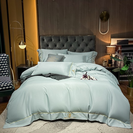 Textured brushed embroidered light green bedclothes set wholesale Nihaojewelry NHMAR411376's discount tags