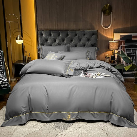 Textured dark gray brushed embroidered bedclothes set wholesale Nihaojewelry NHMAR411383's discount tags