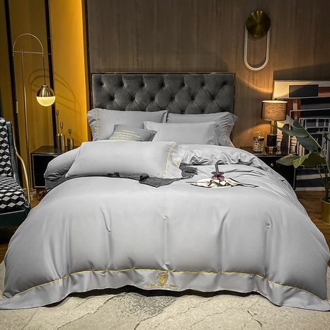 Textured thick brushed embroidered side light gray bedding set wholesale Nihaojewelry NHMAR411372's discount tags