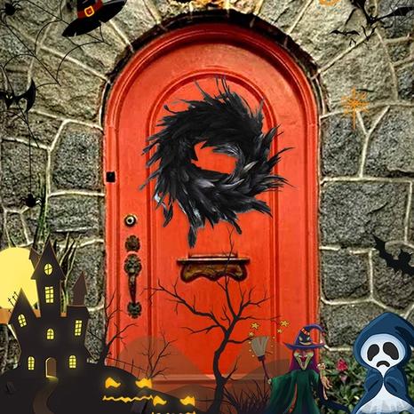 Black Feather Wreath Halloween Door Hanger Wholesale Nihaojewelry  NHGAL411239's discount tags