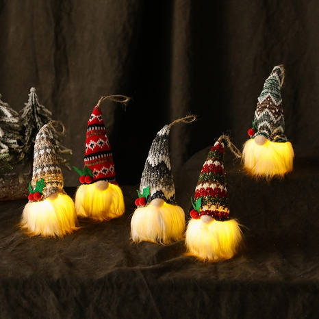 Christmas Knitted Luminous Faceless Doll Tree Pendant Ornaments Wholesale Nihaojewelry NHGAL411264's discount tags