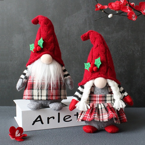 Cute Braids Faceless Plaid Hooded Doll Christmas Desktop Decoration Wholesale Nihaojewelry NHGAL411269's discount tags