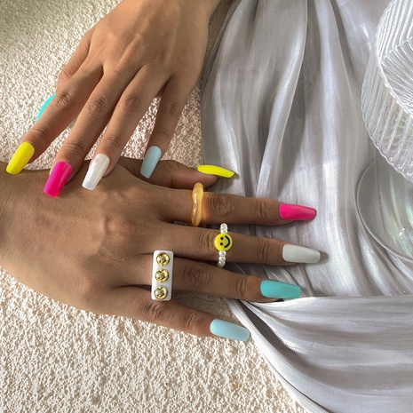 fashion geometric multi-color smiley face pearl set ring wholesale Nihaojewelry  NHXR411420's discount tags