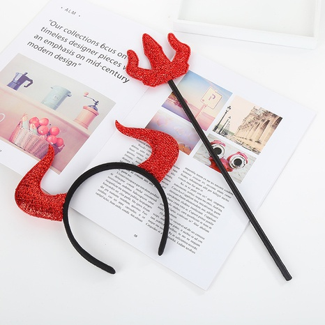 Halloween red small three prongs horns headband set decoration wholesale Nihaojewelry NHGAL411436's discount tags