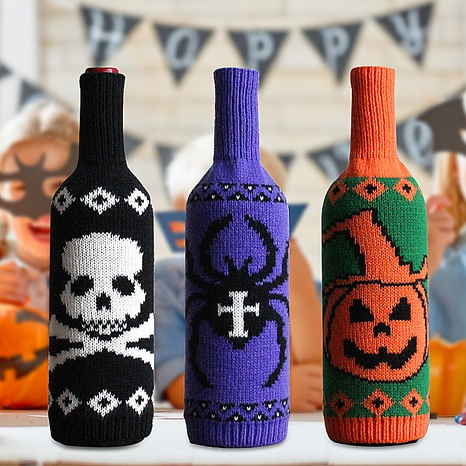 Vintage Skull Pumpkin Knitted Wine Bottle Cover Table Halloween Decoration Wholesale Nihaojewelry NHGAL411438's discount tags