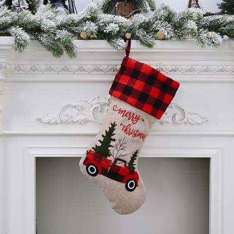 Christmas Decorations Red Black Plaid Cars Candy Stocking Gift Bag Wholesale Nihaojewelry NHGAL411439's discount tags