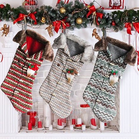 Checkered Knitted Tree Decoration Socks Gift Bag Christmas Ornaments Wholesale Nihaojewelry NHGAL411477's discount tags