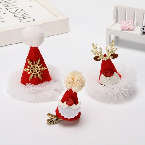 Christmas red sequined small hat veil hairpin wholesale Nihaojewelry  NHGAL412150's discount tags