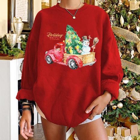 round neck Christmas car snowman tree print long-sleeved sweater wholesale nihaojewelry  NHWU419686's discount tags