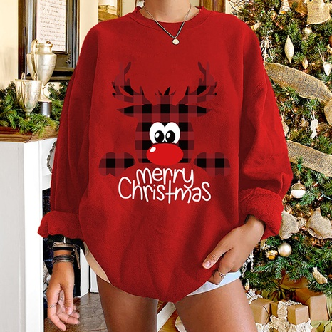 round neck Christmas plaid elk letter print long-sleeved sweater wholesale nihaojewelry  NHWU419687's discount tags