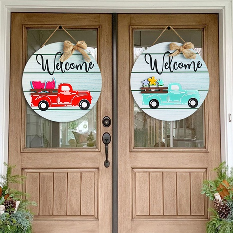 Wooden Car Printing Doorplate Christmas Decoration Wholesale Nihaojewelry NHGAL411440's discount tags