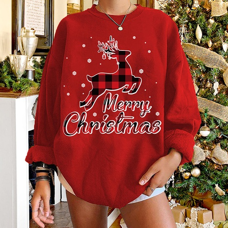 round neck Christmas elk plaid print long-sleeved pullover sweater wholesale nihaojewelry  NHWU419731's discount tags