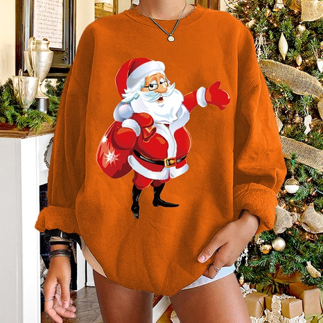 round neck Christmas print Santa Claus long-sleeved sweater wholesale nihaojewelry  NHWU419729's discount tags
