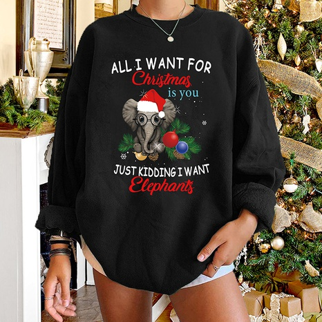 round neck Christmas letter elephant print long-sleeved sweater wholesale nihaojewelry  NHWU419705's discount tags