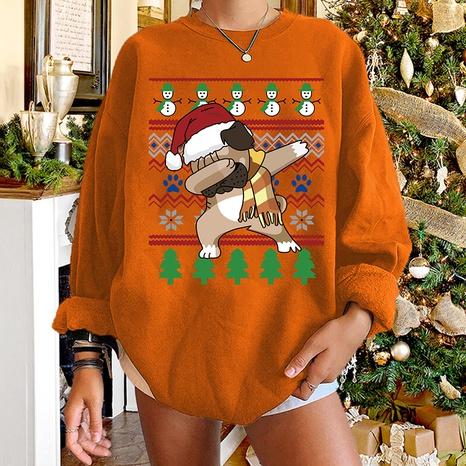 fashion Christmas dog round neck cartoon print long-sleeved sweater wholesale Nihaojewelry NHWU412783's discount tags