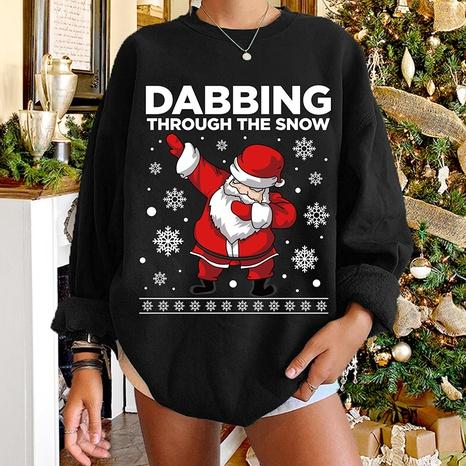 round neck Christmas print cartoon Santa Claus long-sleeved sweater wholesale nihaojewelry  NHWU420730's discount tags