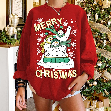 Christmas round neck snowman print long-sleeved sweater wholesale Nihaojewelry NHWU412771's discount tags