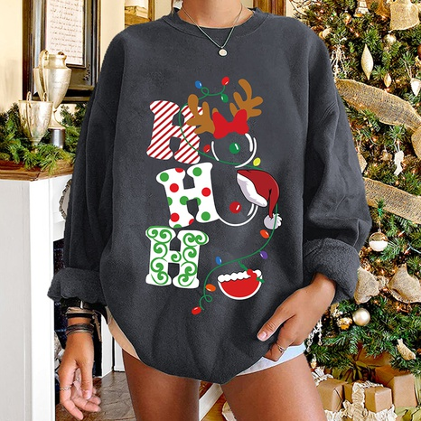 round neck Christmas hit color letter print long-sleeved sweater wholesale nihaojewelry  NHWU419702's discount tags