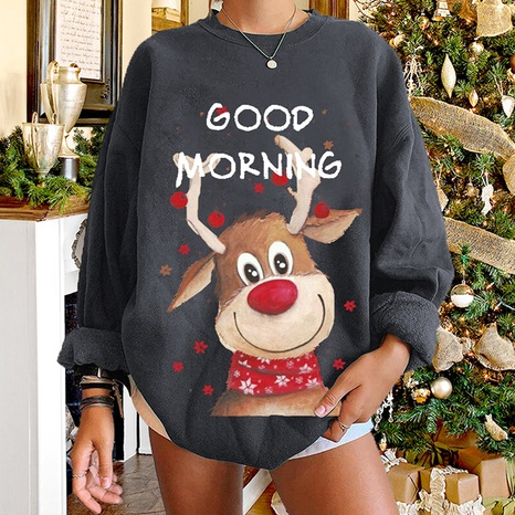 fashion elk printed round neck long-sleeved gray sweater wholesale Nihaojewelry NHWU412745's discount tags