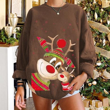 Christmas elk print long-sleeved round neck plush sweater wholesale Nihaojewelry NHWU412752's discount tags