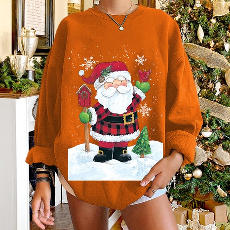 Christmas santa claus print long-sleeved round neck sweater wholesale Nihaojewelry NHWU412751's discount tags