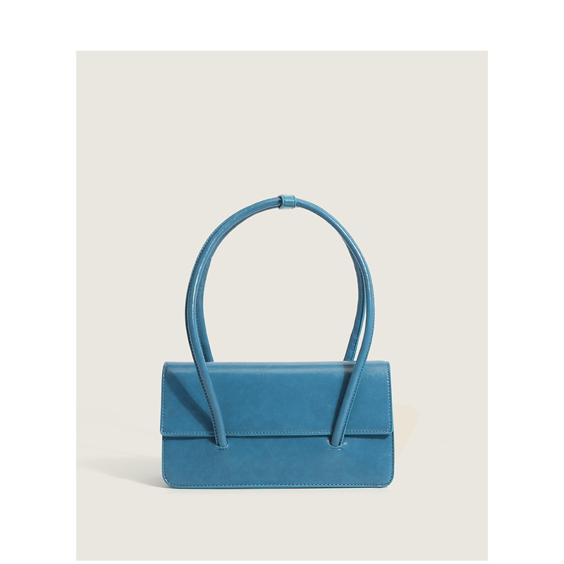 new casual fashion oil leather solid color shoulder tote bag wholesale nihaojewelry NHASB412492