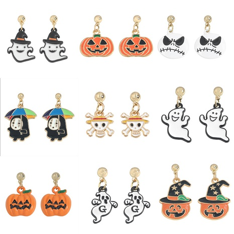 vintage oil dripping smiley pumpkin ghost earrings Halloween decoration wholesale nihaojewelry NHJQ412693's discount tags