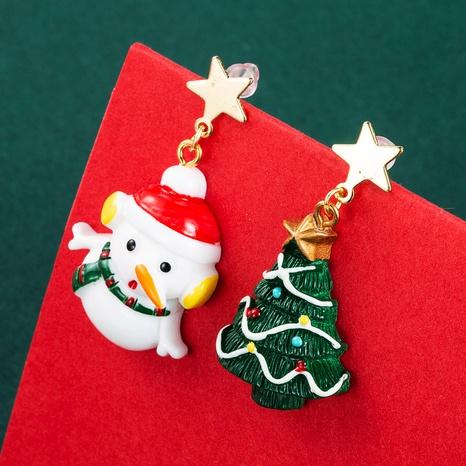 Christmas Series Santa Claus Asymmetrical Earrings Wholesale Nihaojewelry NHLN412704's discount tags
