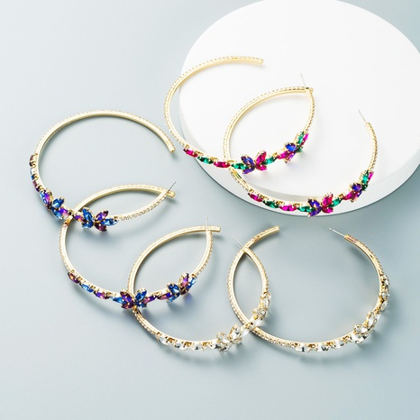 retro rhinestone flower circle earrings wholesale Nihaojewelry NHLN412705's discount tags