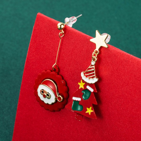 Christmas Santa Claus tree asymmetrical metal earrings wholesale Nihaojewelry NHLN412709's discount tags