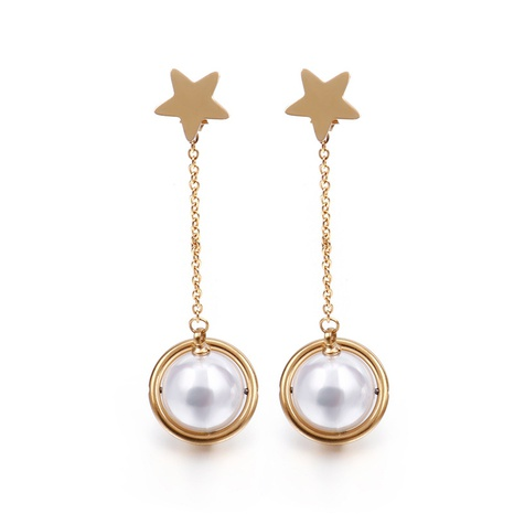 Korean five-pointed star heart-shaped pearl earrings wholesale Nihaojewelry NHKAL412280's discount tags