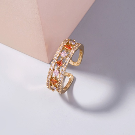 wholesale simple color star constellation rainbow zircon ring Nihaojewelry NHDB396549's discount tags