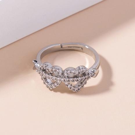 wholesale Cupid's arrow double heart zircon copper ring Nihaojewelry NHDB396550's discount tags