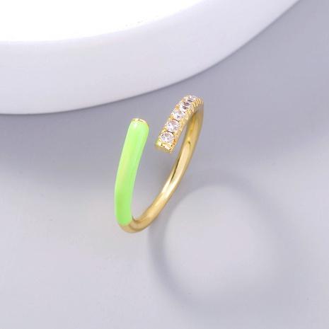 wholesale enamel porcelain fluorescent green zircon ring Nihaojewelry NHDB396552's discount tags
