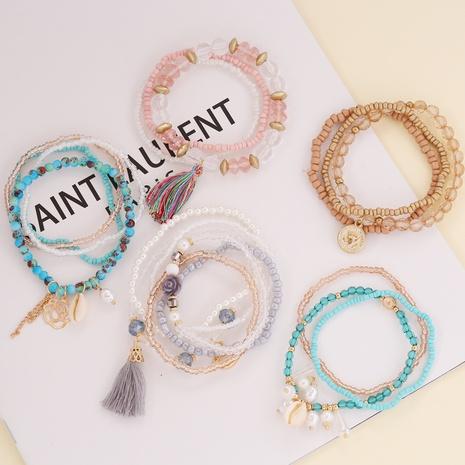 Shell Tassel Crystal Rice Bead Bohemian Style Bracelet wholesale jewelry Nihaojewelry NHBW396723's discount tags
