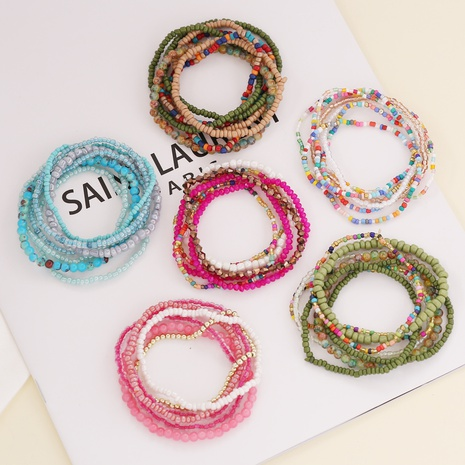 rice beads crystal splicing bohemian style bracelet wholesale jewelry Nihaojewelry NHBW396726's discount tags