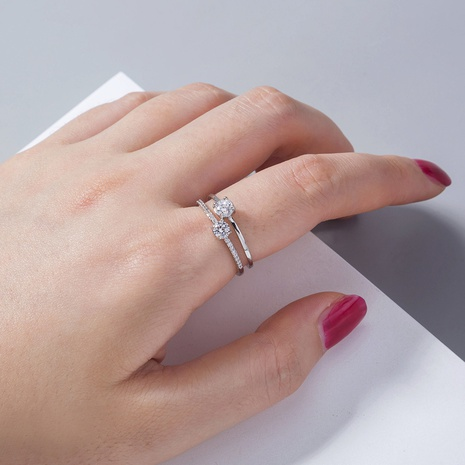 wholesale simple micro-inlaid zircon double ring Nihaojewelry NHDB396807's discount tags