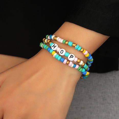 color rice beads letter ethnic style bracelet set wholesale jewelry Nihaojewelry NHDP396825's discount tags